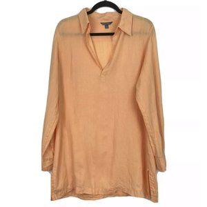 Brooks Brothers Linen Tunic Blouse Orange V-neck